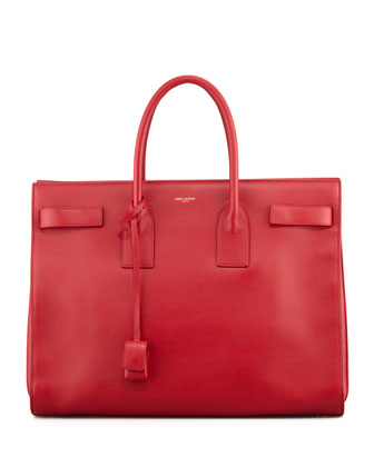Classic Sac De Jour Leather Tote Bag, Red
