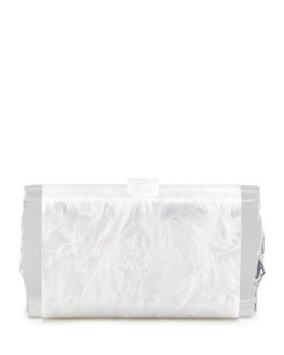 Lara Acrylic Ice Clutch Bag, White