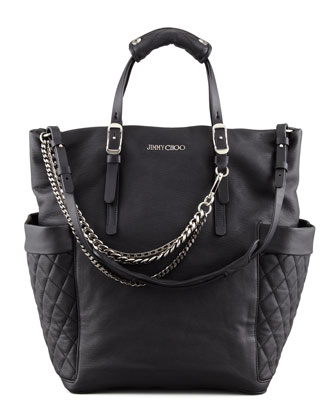 Blaze Leather Tote Bag, Black