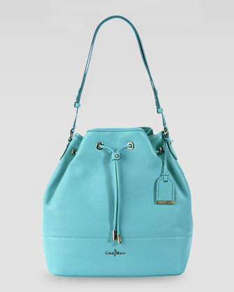 Linley Leather Drawstring Bag, Turquoise