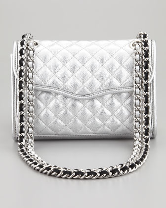 Quilted Affair Mini Metallic Shoulder Bag, Silver