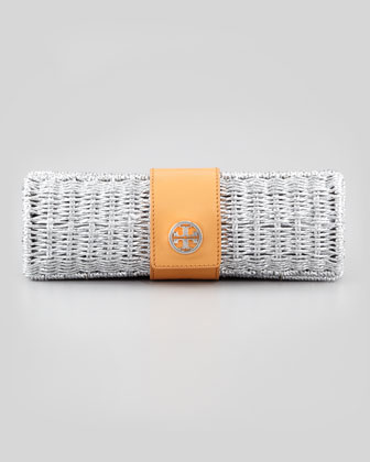 Chunky Metallic Straw Cylinder Clutch Bag, Silver