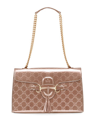 Emily Shine Guccissima Leather Chain Shoulder Bag, Beige
