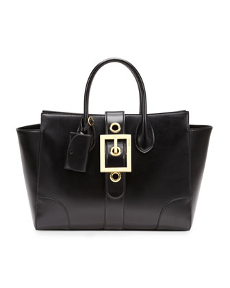 Lady Buckle Leather Top Handle Bag, Black