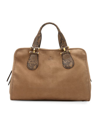 Twice Suede and Python Top Handle Bag, Tan