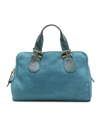 Twice Suede and Python Top Handle Bag, Blue
