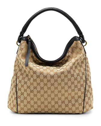 Interweave Original GG Canvas Hobo, Black/Brown