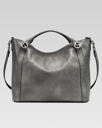 Miss GG Leather Top Handle Bag, Dark Gray