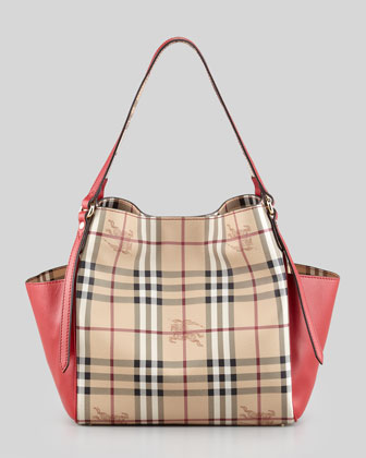 Small Check Canvas Tote Bag, Red