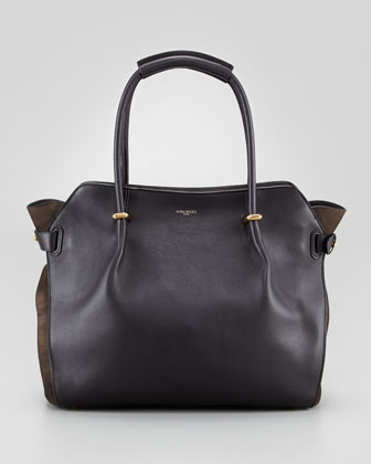 Marche Large Leather Tote Bag, Black