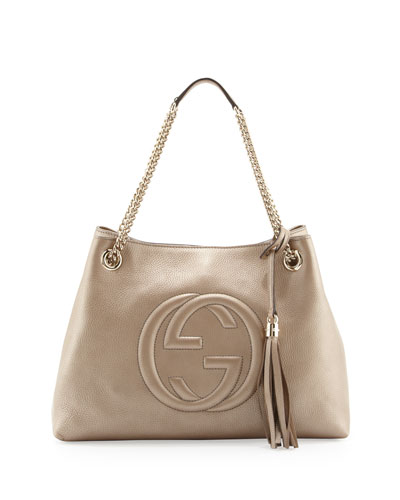 Soho Metallic Leather Tote Bag, Golden