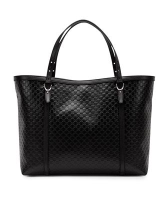 Nice Microguccissima Leather Tote, Black