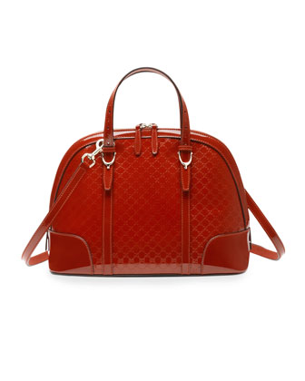 Nice Microguccissima Patent Leather Top Handle Bag, Red