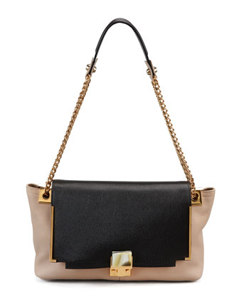 Partition Leather Shoulder Bag, Black/Beige