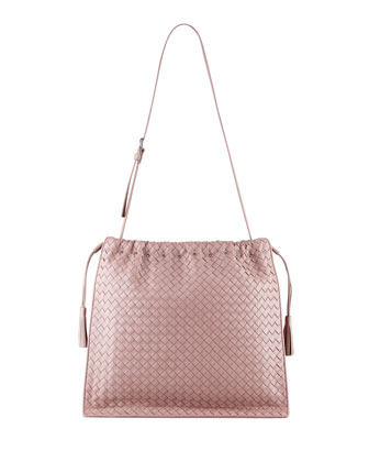 Large Drawstring Woven Shoulder Bag, Mauve