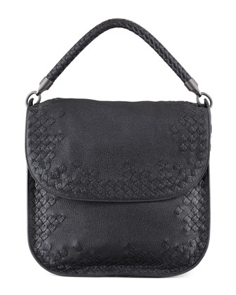 Cervo Medium Flap Shoulder Bag, Black
