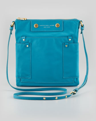 Preppy Nylon Sia Crossbody Bag, Teal