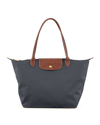 Le Pliage Large Nylon Shoulder Tote Bag, Dark Gray