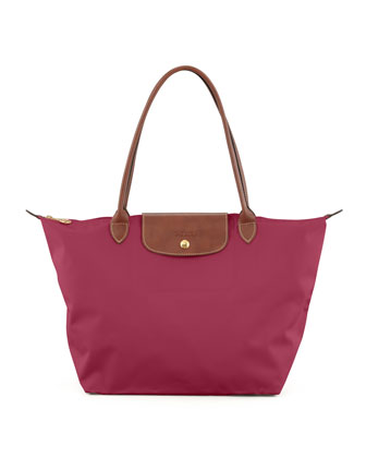 Le Pliage Large Nylon Shoulder Tote Bag, Fuchsia