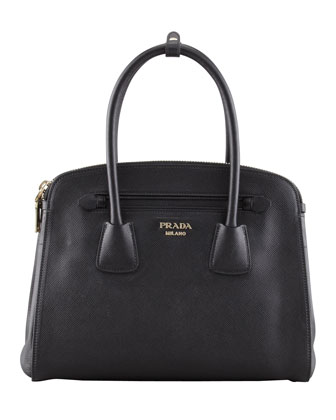 Saffiano Cuir Small Double-Zip Tote Bag, Black