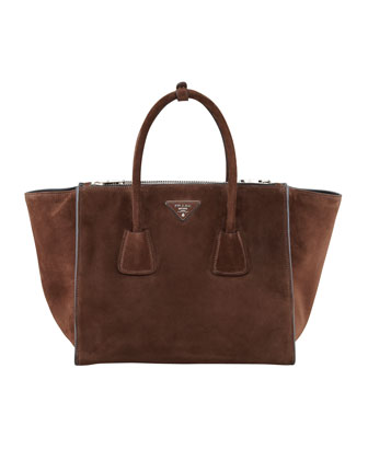 Suede Twin Pocket Tote Bag, Brown