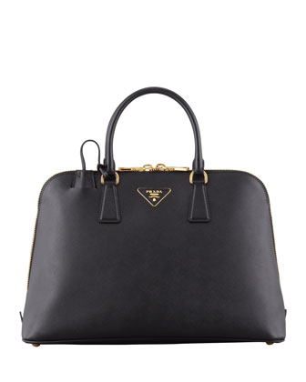 Saffiano Medium Promenade Bag, Black