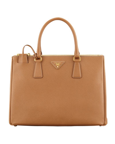 Saffiano Double-Zip Executive Tote Bag, Brown (Caramel)