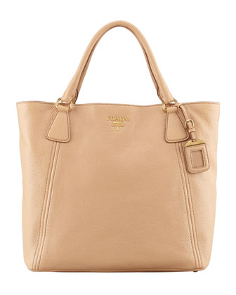 Daino Snap-Top Tote Bag, Beige