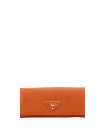 Saffiano Triangle Continental Flap Wallet, Orange