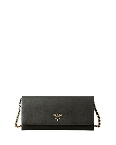 Saffiano Wallet on a Chain, Black (Nero)