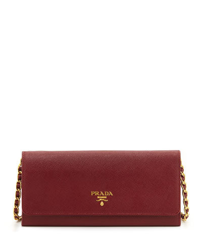 Saffiano Wallet on a Chain, Wine (Cerise)