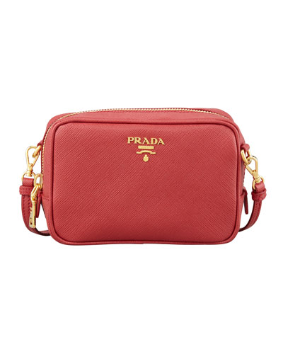 Saffiano Mini Zip Crossbody Bag, Red (Fuoco)