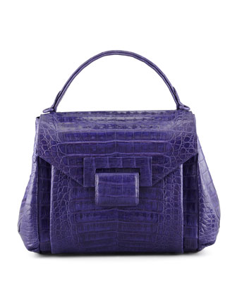 Crocodile Flap-Front Small Satchel Bag, Purple