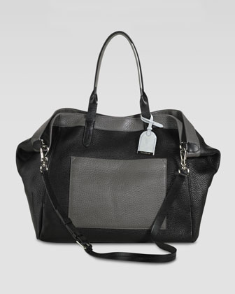 Crosby Colorblock Leather Shopper, Black/Gray