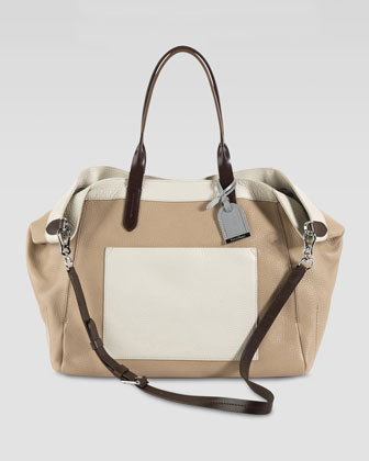 Crosby Colorblock Leather Shopper, Tan/Cream