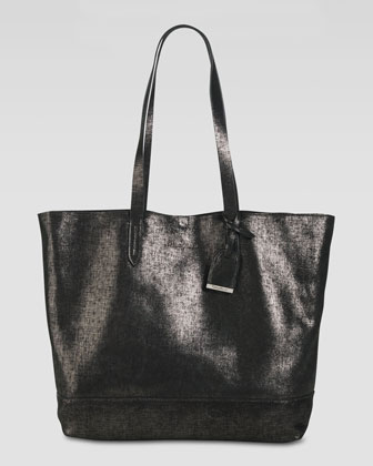 Haven Metallic Leather Tote Bag, Black