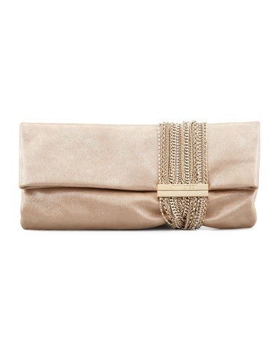 Chandra Shimmer Suede Chain Clutch Bag, Champagne