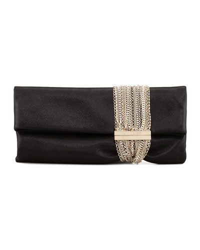 Chandra Shimmer Suede Chain Clutch Bag, Black