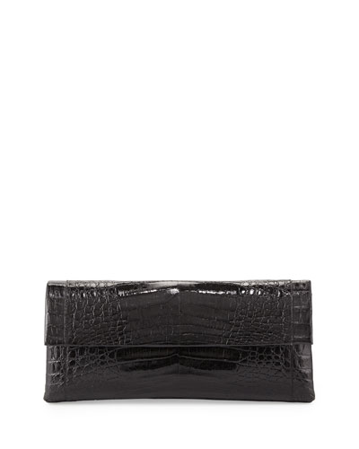 Gotham Crocodile Flap Clutch Bag, Black
