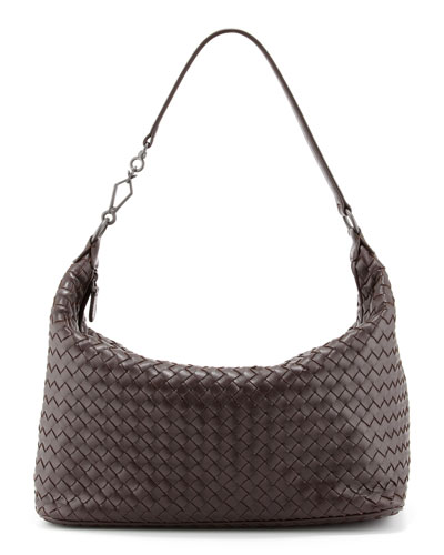 Woven Leather Shoulder Bag, Dark Brown