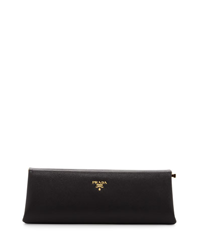 Saffiano East-West Frame Clutch Bag, Black (Nero)