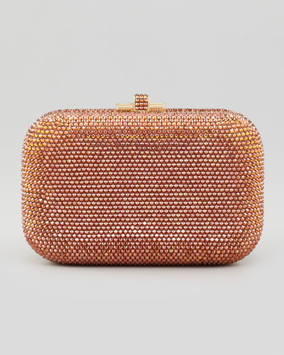 Crystal Slide-Lock Clutch Bag, Champagne