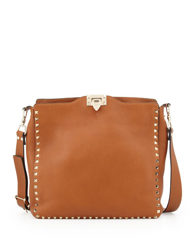 Rockstud Flip-Lock Messenger Bag, Tan