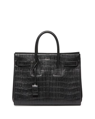 Sac de Jour Small Croc-Stamped Satchel Bag, Black