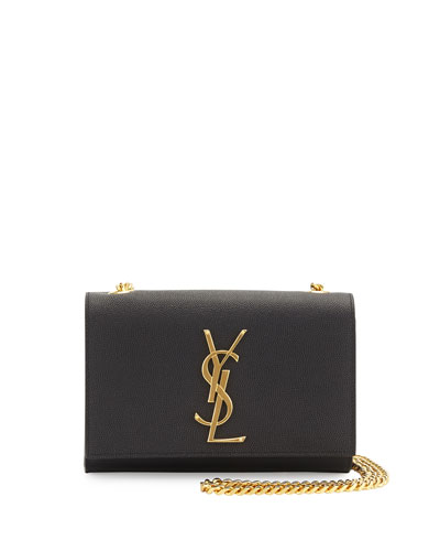 Monogram Leather Crossbody Bag, Black