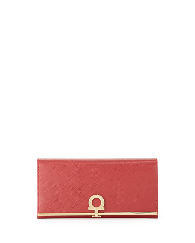Gancini Icona Bar Continental Wallet, Rosso