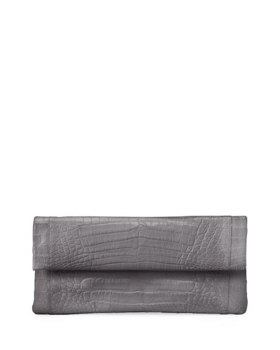 Gotham Crocodile Clutch Bag, Gray