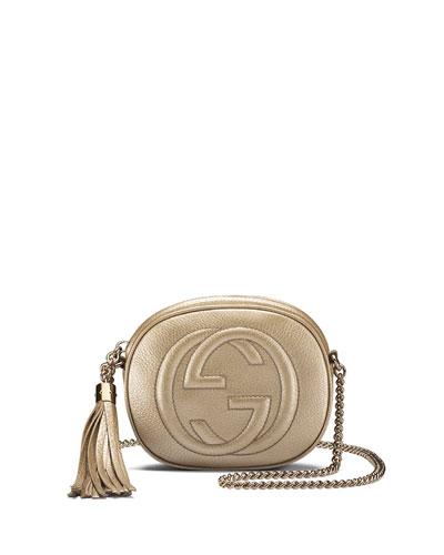 Soho Metallic Leather Mini Chain Bag, Golden