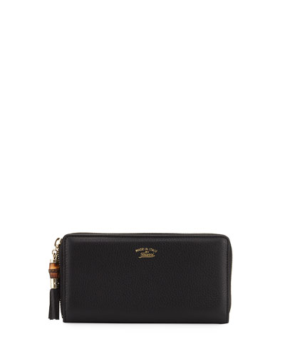 Bamboo Tassel Leather Zip Around Wallet, Black