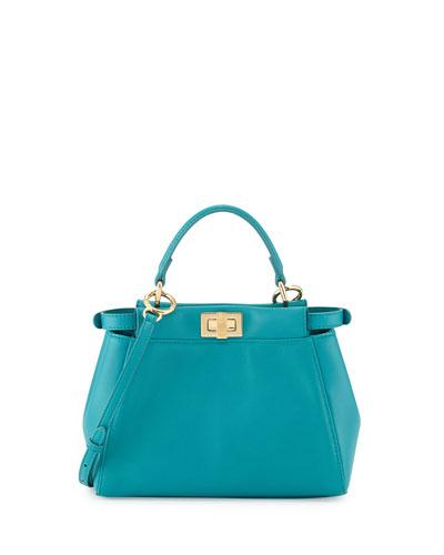 Peekaboo Mini Leather Satchel Bag, Aqua